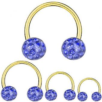 Circular Barbell Gold Plated Titanium 1,2 mm, Multi Crystal Ball Sapphire Blue  | 6-12 mm