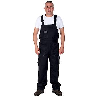 Portwest Texo Contrast Work Dungarees (Black) Mens Work Bib Overalls Industrial