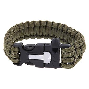 Multifunksjon utendørs overlevelse Paracord armbånd med Flint brann Starter skrape plystre Kit - hær grønn Boolavard® TM