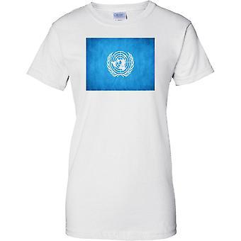 Las Naciones Unidas ONU emblema bandera - señoras T Shirt