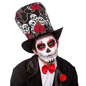 Adult Day Of The Dead Top Hat Fancy Dress Party Accessory Skull Voodoo Halloween