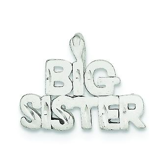 Sterling Silver Solid Satin Sparkle-Cut Big Sister Charm - 2.4 Grams