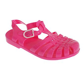 Childrens/Girls Closed Buckle Fasten Jelly Sandals