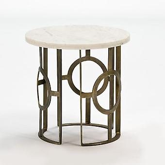 Wellindal Auxiliary Table Metal Bronze and White Marble