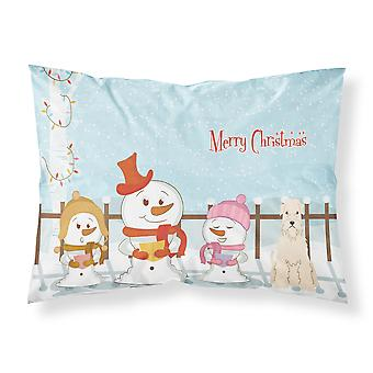 Merry Christmas Carolers Soft Coated Wheaten Terrier Fabric Standard Pillowcase