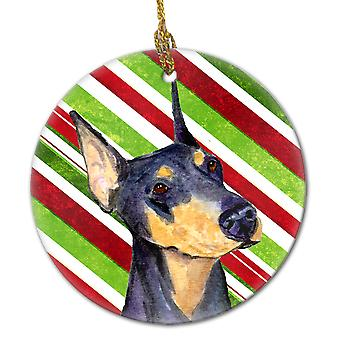 Doberman Candy Cane Holiday Christmas Ceramic Ornament SS4564