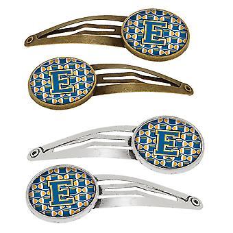 Bokstaven E fotball blå og gull sett med 4 Barrettes hår klipp