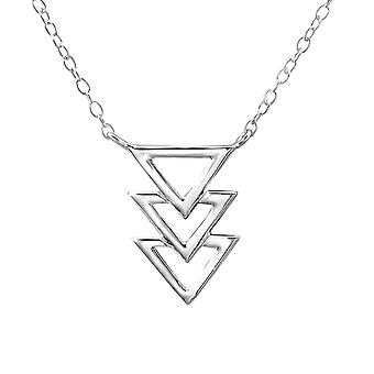 Triple Triangle Inline - 925 Sterling Silver Plain Necklaces
