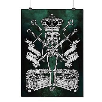 Matte or Glossy Poster with King Crown Skull Horror | Wellcoda | *d2783