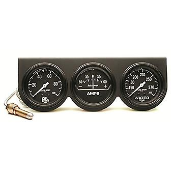 Auto Meter 2394 Autogage Black Oil/Amp/Water Gauge with Steel Console