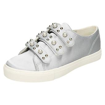 Ladies Spot On Pearl Strap Shoes F80359 - Grey Satin - UK Size 5 - EU Size 38 - US Size 7