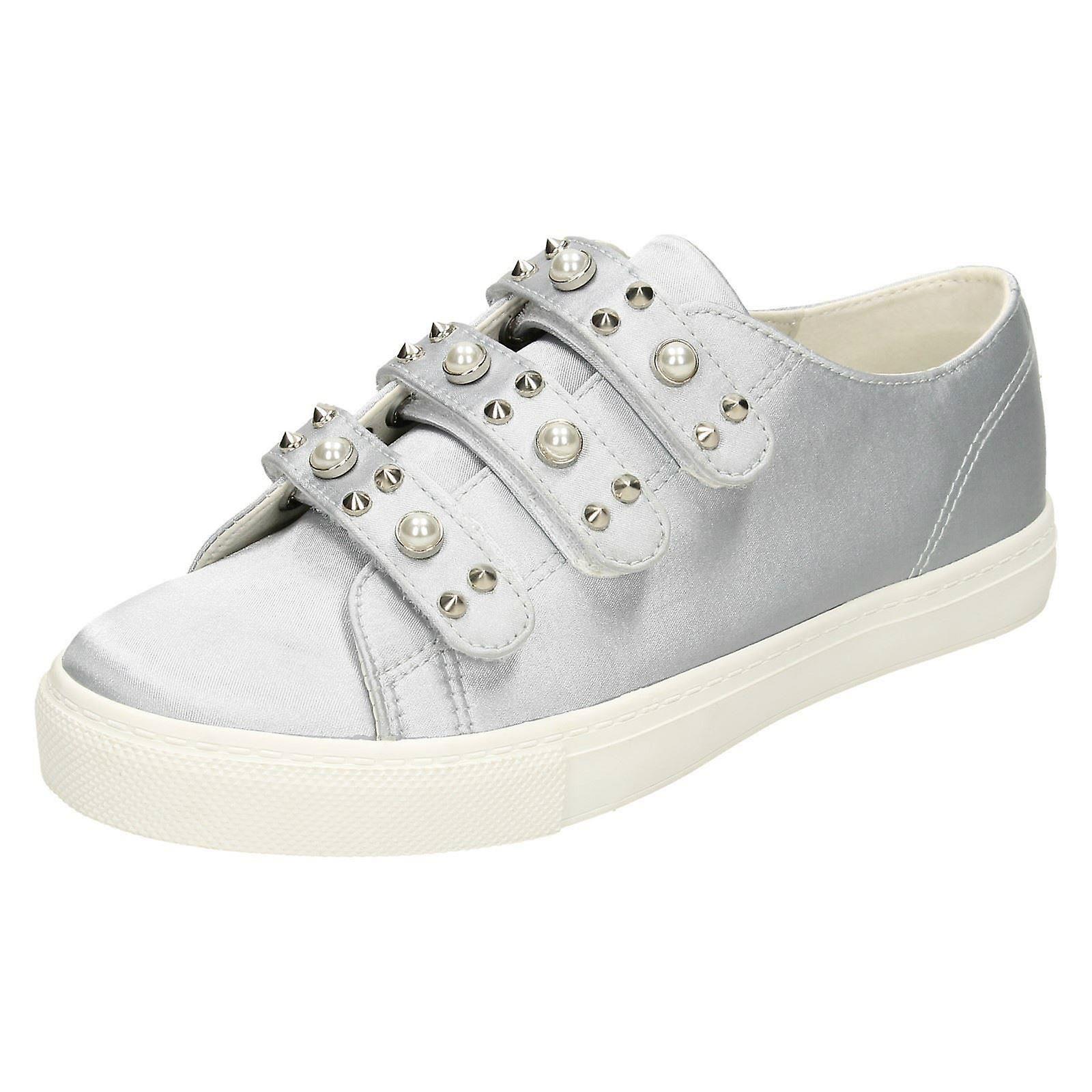 Damen-Fleck auf Perle Armband Schuhe F80359 - grau Satin - UK Größe 5 - EU Größe 38 - Größe 7