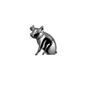 Broche de plata 24x25mm cerdo