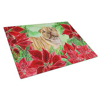 Shar Pei Puppy Poinsettas Glass Cutting Board Large