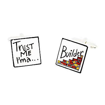 Sonia Spencer Trust Me, I'm A Builder Cufflinks - English Bone China Hand Crafted Cuff Links