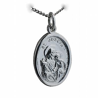 Silver 21x15mm oval St Joseph Pendant with a curb Chain 24 inches