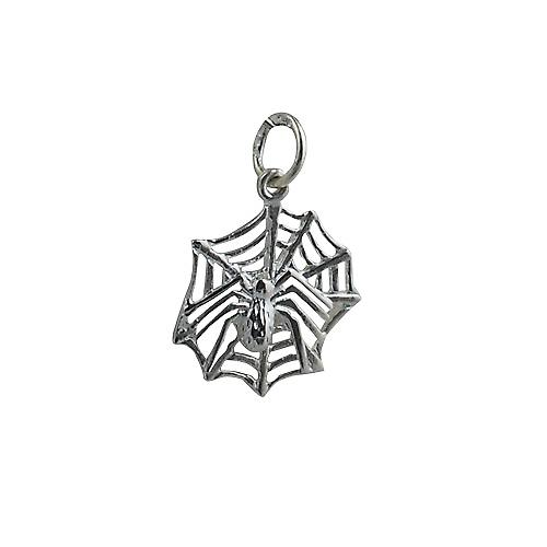 Silver 17x16mm spider on webb Charm or Pendant