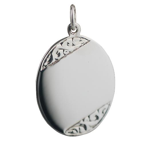 Silver 27x21mm hand engraved oval Disc