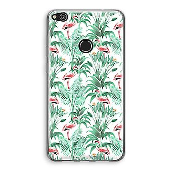 Huawei Ascend P8 Lite (2017) Transparant Case - Flamingo leaves