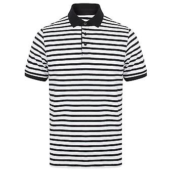 Front Row Mens Striped Jersey Polo Shirt