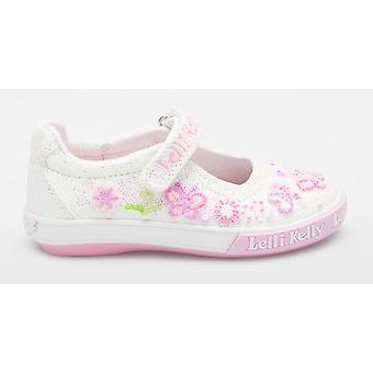 Lelli Kelly Butterfly LK5076 White Glitter Canvas Shoes With Beaded Design