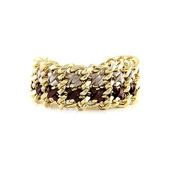 Ettika - Yellow Gold Bracelet and braided ribbons Brown and silver