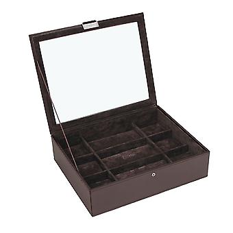 Exec Brown Watch Lidded 15 Piece Watch Tray