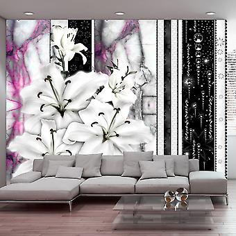 Artgeist Wallpaper Crying lilies on purple marble (Decoration , Vinyls)