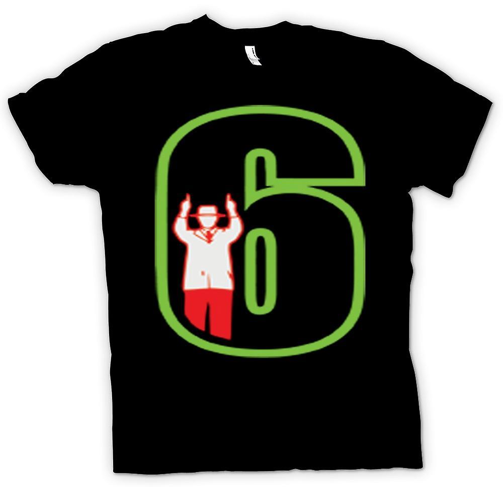 Mens T-shirt-jeu « 6 » du juge-arbitre de Cricket