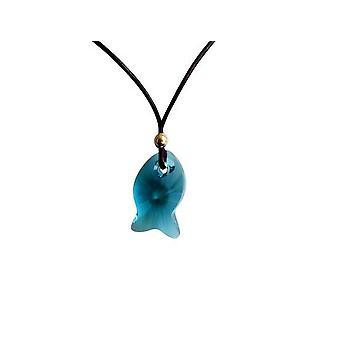 Chain with pendant fish green blue gold plated crystal element leather chain MICHELE