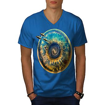 Being Spaceship Space Men Royal BlueV-Neck T-shirt | Wellcoda