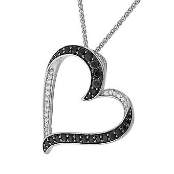 Orphelia Silber 925 Kette mit Anhänger Herz schwarz/weiß Zirc ZH-7069