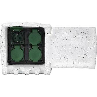 Renkforce 1168609 Weatherproof socket strip 4 x White grey