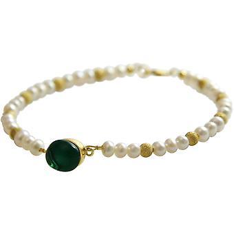 Gemshine - ladies - bracelet - pearls gold plated-Crystal green - 18 cm
