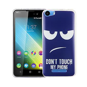 Caso móvil para adorno de bolsa protectora caso cubierta Wiko Lenny 2 slim TPU + cristal de protección 9 H de la armadura no toques mi teléfono Blau