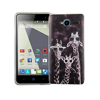 Mobile case for ZTE blade L3 cover case protective bag motif slim TPU + armor protection glass 9 H 3 giraffes