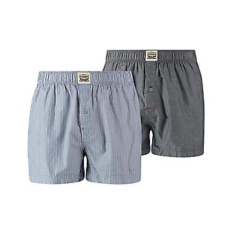 Levi's 2 Pack 300ls Striped Chambray Woven Boxer Trunk - Blue Jeans