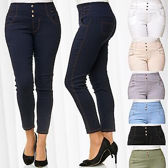 Ladies Stretch Pants High Waist Treggings Plus Size Shaping Effect Forming Jeans