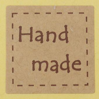 Brown Text Square Handmade Sticker 2 Sheets Dotted Edge 40 Stickers
