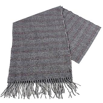 Bassin and Brown Midwinter Check Cashmere Scarf - Grey/Red