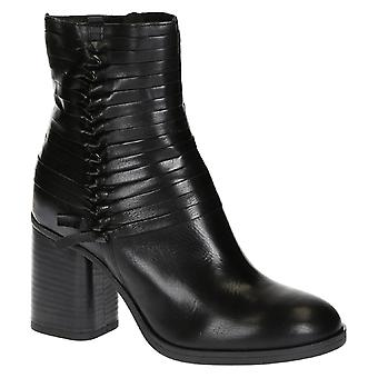 Handmade block heeled ankle boots in black leather