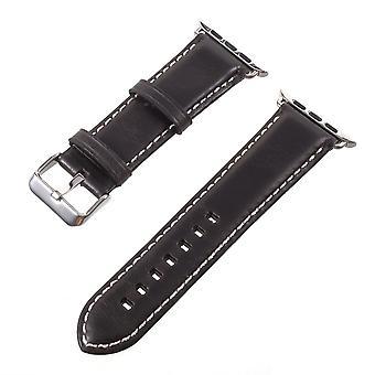 Vintage skórzany pasek dla Apple Watch 42 2/3/1 mm Czarny