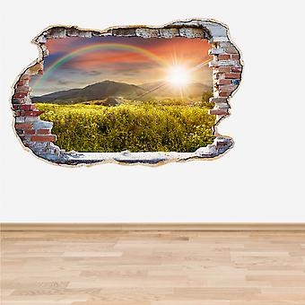 Full Colour Rainbow Smashed Wall 3D Effect Wall Sticker
