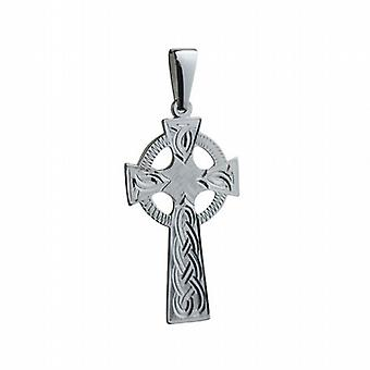 Silver 45x20mm hand engraved knot pattern Celtic Cross with bail