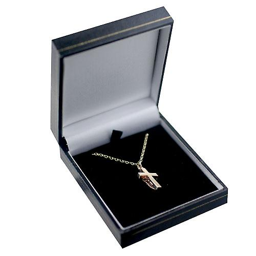 9ct Gold 20x12mm solid block Crucifix Cross with a belcher Chain 16 inches Only Suitable for Children