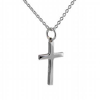 Silver 20x12mm plain solid block Cross with a rolo Chain 24 inches