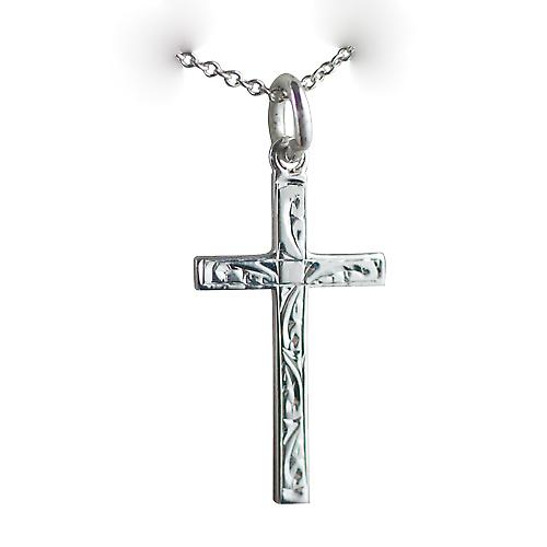 Silver 25x15mm hand engraved solid block Cross with a rolo Chain 16 inches Only Suitable for Children
