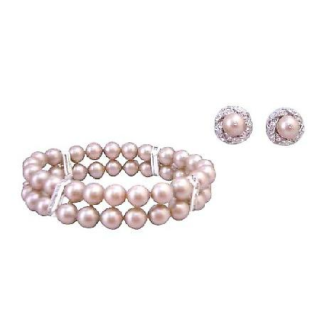 Prom Jewelry Champagne 8mm Pearls Double Stranded Stretchable Bracelet