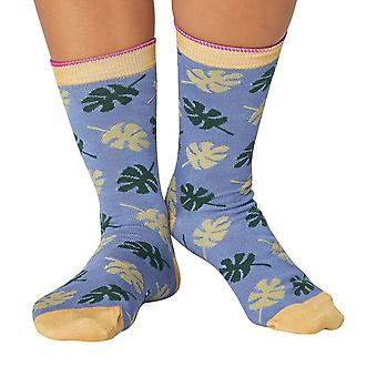 Tropical women's soft bamboo crew socks in sea blue | By Thought