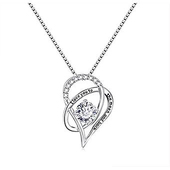 925 Sterling Silver Love Moon Heart Pendant Necklace